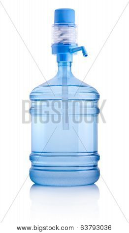 Big Bottle Of Water With Pump Isolated On White Background