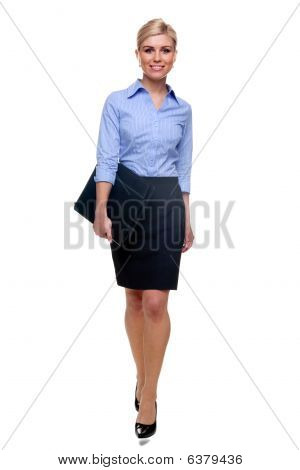 Blonde Businesswoman Walking Towards
