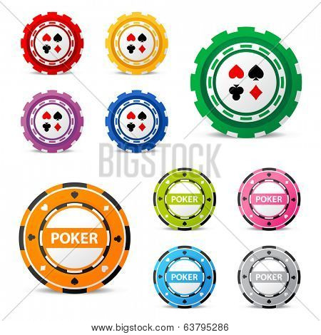 10 highly detailed gambling chips over white background