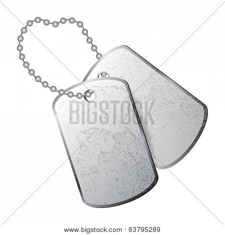 Dog tags isolated on white background