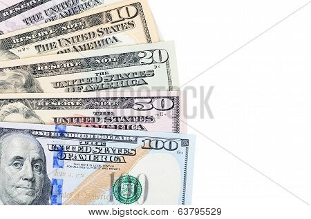 Dollar Banknotes  Isolated On White Background