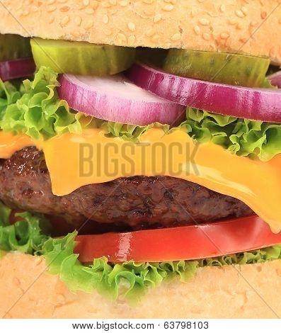 Close up of big tasty hamburger.