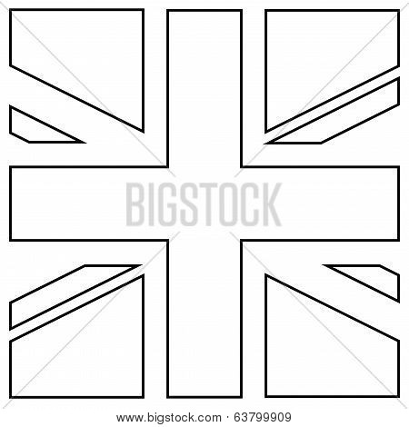 England Flag Square Wired. Vector.