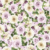 stock photo of purple rose  - Vector seamless background with purple roses - JPG