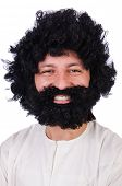 stock photo of hirsutes  - Hairy funny man isolated on the white - JPG