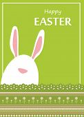 image of rabbit hole  - Vector Easter bunny looking out a green retro background  - JPG