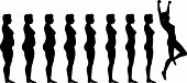foto of fat woman  - Woman silhouettes are symbol of Fat to Fit Diet Weight Loss Success - JPG
