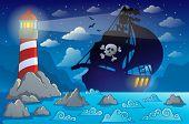 foto of pirate ship  - Pirate ship silhouette near coast 2  - JPG