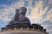 stock photo of lantau island  - giant bronze buddha statue Lantau Island Hong Kong - JPG