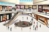 stock photo of elevators  - A vector illustration of scene inside shopping mall - JPG
