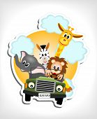 stock photo of wild adventure  - giraffe elephant zebra and lion driving green car  - JPG