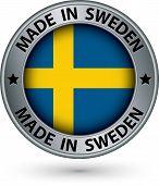 picture of sweden flag  - Made in Sweden silver label with flag vector illustration - JPG
