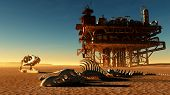 stock photo of dinosaur skeleton  - Dinosaur skeleton and the oil station in the desert - JPG