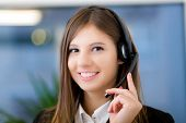 foto of telephone operator  - Female call center operator - JPG