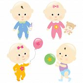 stock photo of male pattern baldness  - Baby girls and baby boys standing - JPG