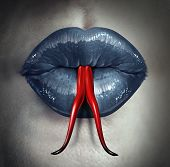 image of seductress  - Temptation and human gossip concept as woman lips with a snake forked tongue as a metaphor for dirty talk or sexual issues - JPG