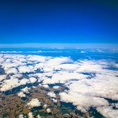 stock photo of float-plane  - Beautiful cloudy sky view from air plane window - JPG