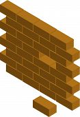 stock photo of cornerstone  - Vector illustration of a block wall with missing brick - JPG