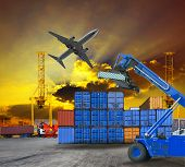 stock photo of shipping receiving  - container in ship yard use for logistic and cargo service theme - JPG
