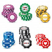 pic of ace spades  - gambling chips stacks over white background - JPG