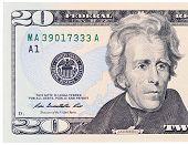 image of twenty dollars  - The twenty dollars isolated on white background - JPG