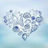 stock photo of bon voyage  - Heart of Sea shells - JPG