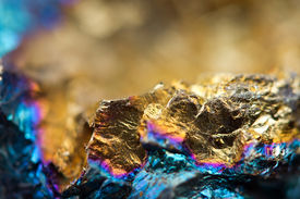 image of bronze silver gold platinum  - Abstract background from a Crystal mineral. Extreme closeup. Macro ** Note: Shallow depth of field - JPG