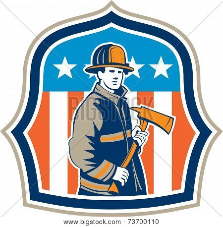 American Fireman Firefighter Fire Axe Shield