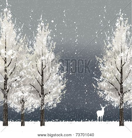 Winter Background At Night With White Trees And Reindeer