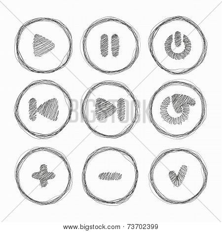 Web Icon. Set Of Vector Grunge Brushes. Abstract Hand Drawn Ink Strokes