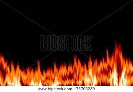 Blazing Flames On Black Background.