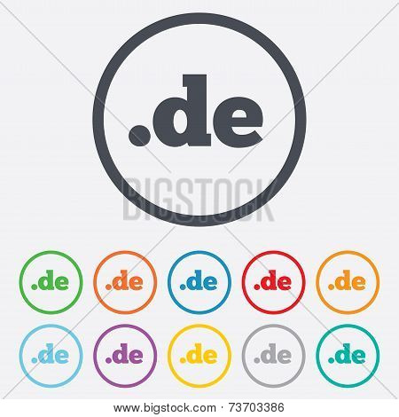 Domain DE sign icon. Top-level internet domain