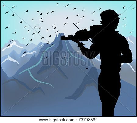 Silhouette Of Violinist On A Background Of Mountains