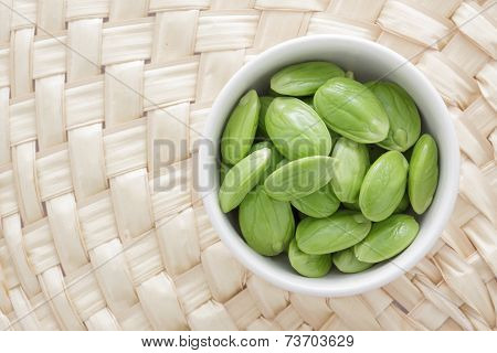 Bowl Of Parkia On Wooden Background.