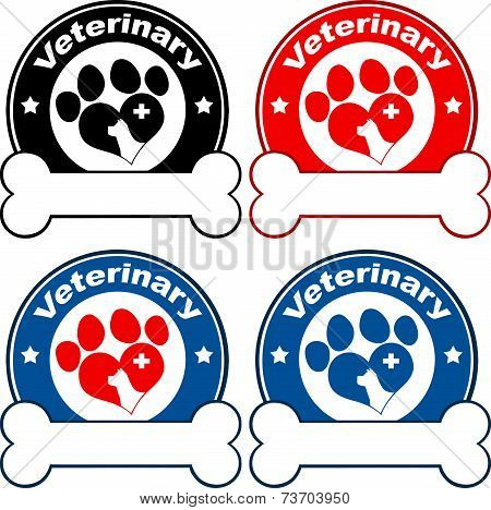 Veterinary Circle Labels Design With Love Paw Dog, Cross And Bone Under Text. Collection Set