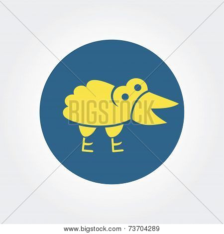 Abstract gift yellow raven with gift logo icon concept isolated on white background for business des