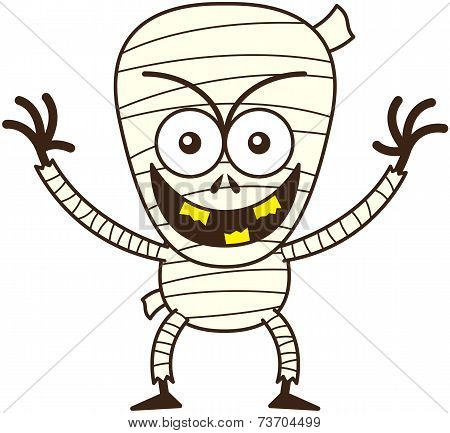 Cool Halloween mummy smiling mischievously