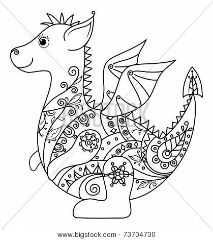 Cartoon Dragon, outline