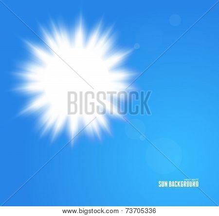 Sun with lens flare, vector background