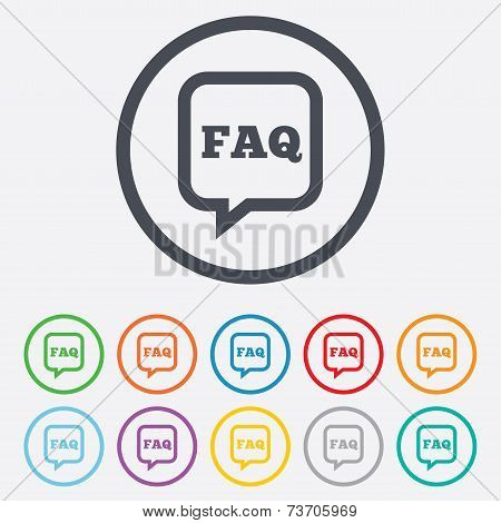 FAQ information sign icon. Help symbol.