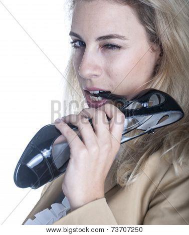 Woman With High Heel Shoe