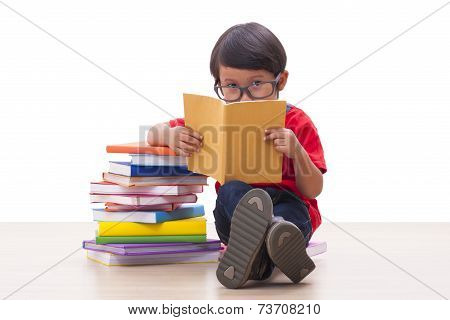 Cute boy reading a book
