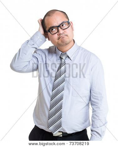 Businessman feel of difficulty of problem