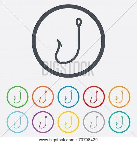 Fishing hook sign icon. Fishermen tackle symbol
