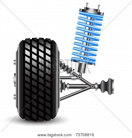 car suspension, frontal view.
