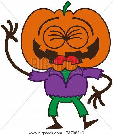 Funny Halloween scarecrow laughing enthusiastically