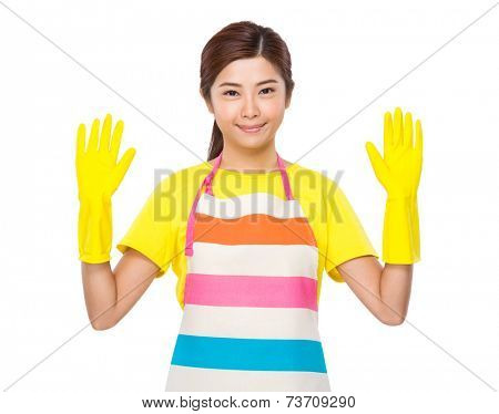 Housewife with plastic gloves