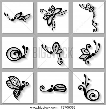 Vector Set of Stylized Ornamental Insects with Long Shadow