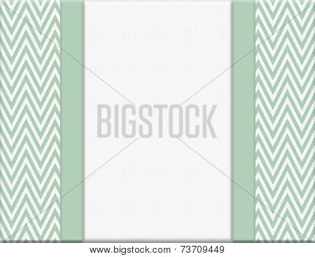 Green And White Chevron Zigzag Frame With Ribbon Background