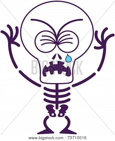 Cute Halloween skeleton crying and sobbing